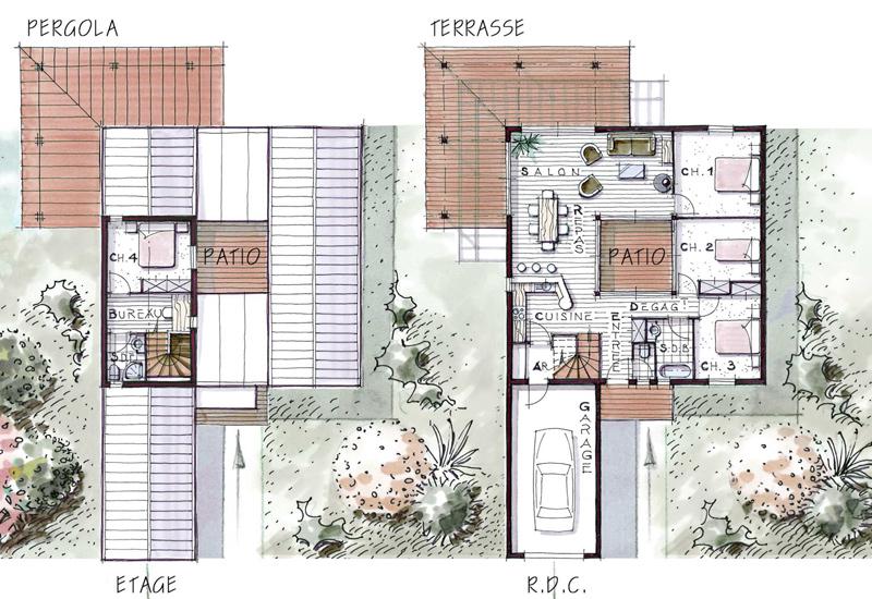 Mod les et r alisations maisons bois in patio for Plan de maison africaine