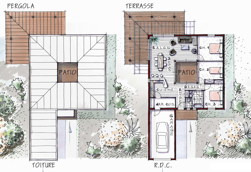 Plans maisons en l joy studio design gallery best design - Maison patio interieur ...